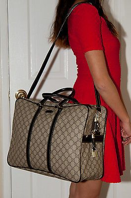 fleeknsleek.com RARE GENUINE VINTAGE GUCCI TRAVEL BAG/LUGGAGE PVC/LEATHER BROWN #201480 8583 #gucci #fashion #desinger #boutique