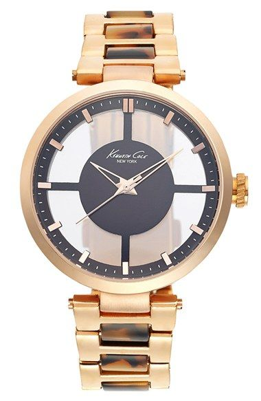 Kenneth Cole New York Transparent Dial Two-Tone Bracelet Watch, 36mm available at #Nordstrom