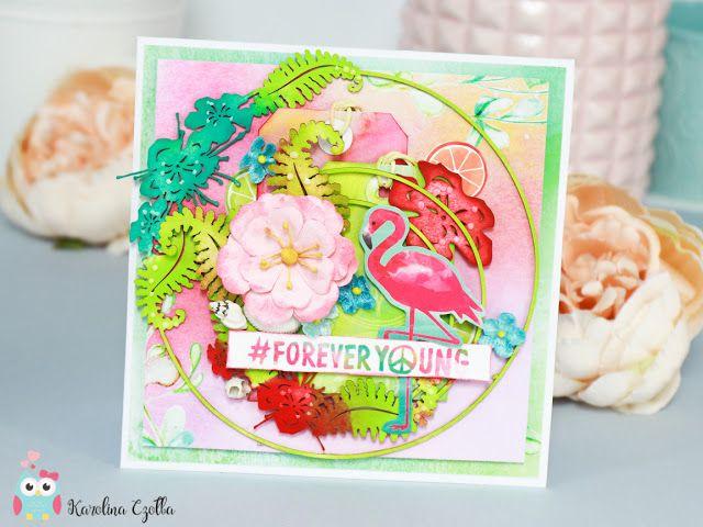 Bardzo Kolorowa Kartka W Hawajskim Stylu Z Pieknymi Tekturkami Ze Scrapinca I Flamingiem Cardmaking Scrapbooking Card Hawaiian Style Cards Style