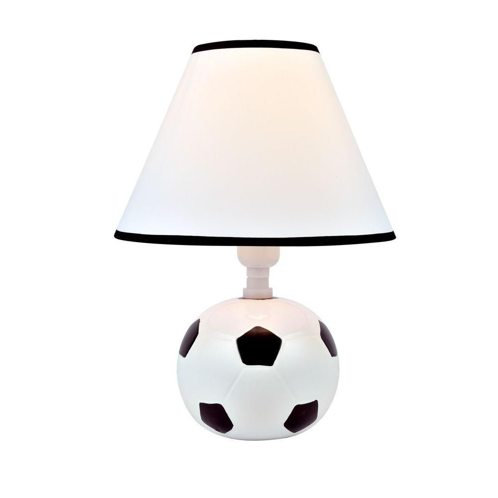 Illumine Designer Collection 11 5 In Soccer Ball Ceramic Table Lamp With White Fabric Shade