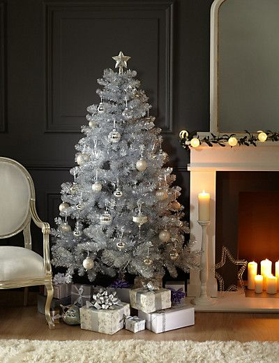 6ft Silver Tinsel Christmas Tree | M&S - 6ft Silver Tinsel Christmas Tree Front Room Pinterest Silver