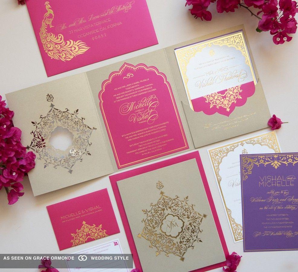Trendy Wedding Invitation Cards: Pink And Gold Wedding Invitation Set