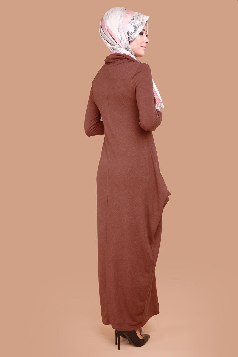 Degaje yaka elbise knz kiremit elbiseler pinterest