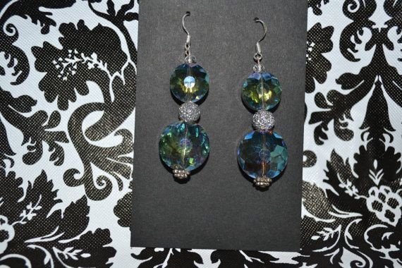 Blueish Green Clear Stone Dangle Earrings  by InspirableCrafts