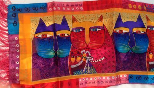 Laurel Burch 100% Silk Scarf Fuchsia Cats Design Fringe LBS 151