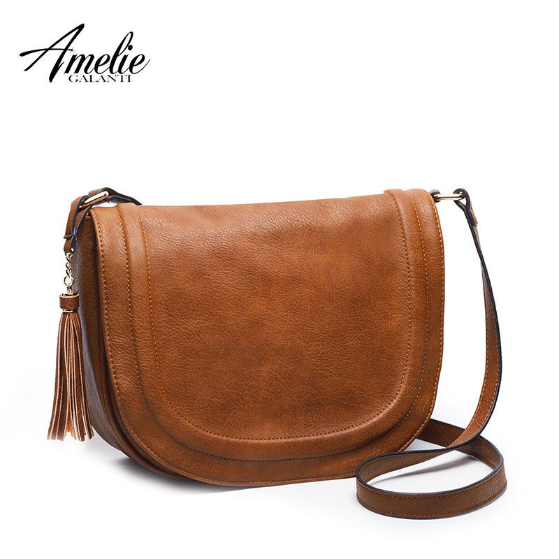 a0ed181828 AMELIE GALANTI casual crossbody bag soft cover solid saddle tassel women  messenger bags high quality shoulder bag for women aliexpress.com