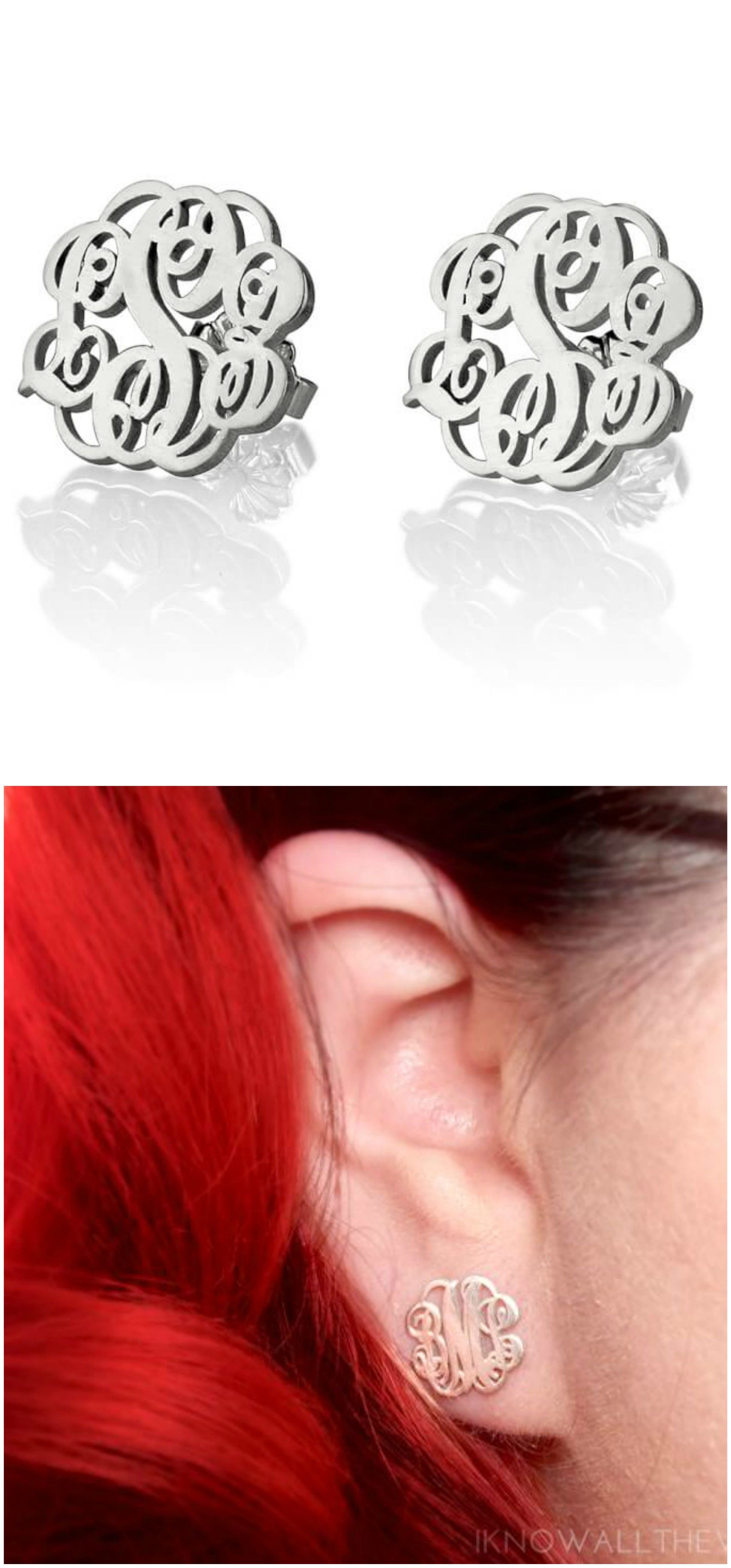 Make A Statement Today With Pair Of Monogram Earrings Your Very Own Available Now At Onecklace