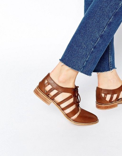 ASOS MELS Leather Flat Shoes | ASOS