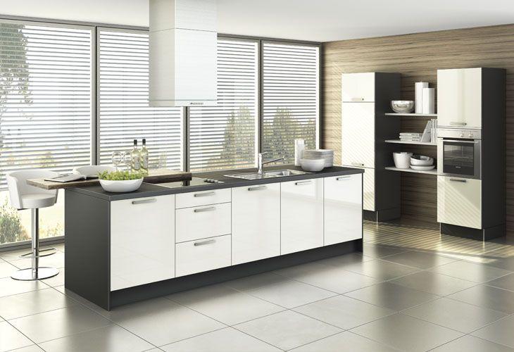 Küche in Schwarz-Weiß #Kücheninsel wwwdyk360-kuechende Küchen - küche schwarz weiß