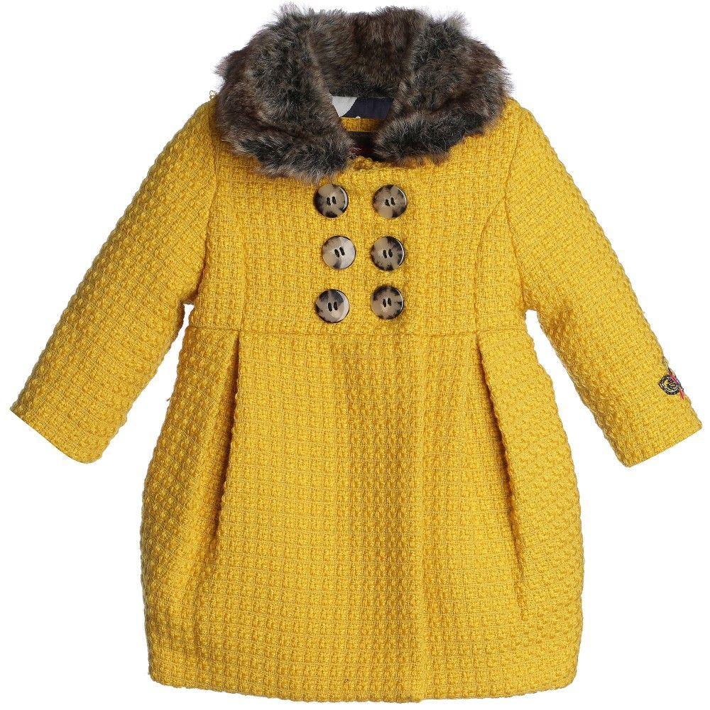 Girls Yellow Bouclé Wool Coat & Fur Collar, Catimini, Girl ...