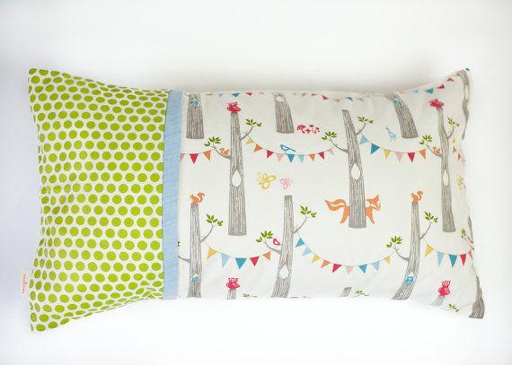 modern fox party \u0026 green dots organic kids pillow by mitanidesigns $30.00