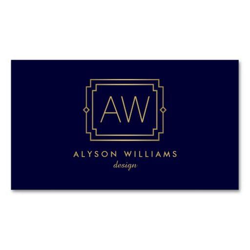 Professional vintage art deco elegant navygold business card professional vintage art deco elegant navygold business card reheart Gallery