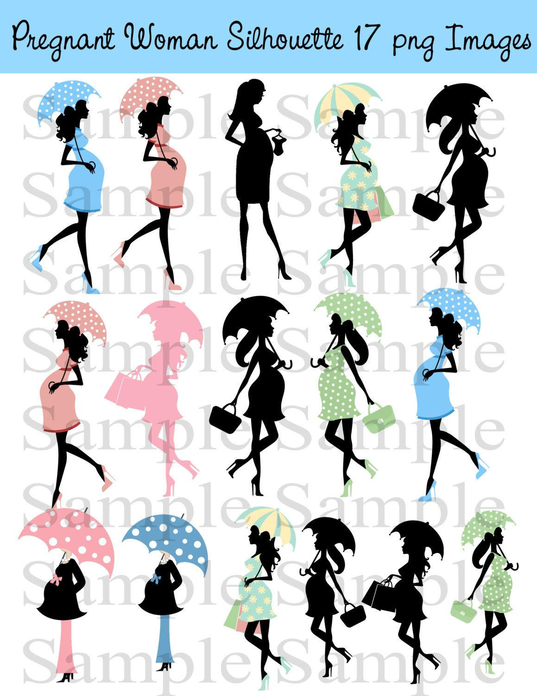 Pregnant woman silhouette clip art instant download blue pink baby pregnant woman silhouette clip art instant download blue pink baby shower invitations scrapbooking filmwisefo