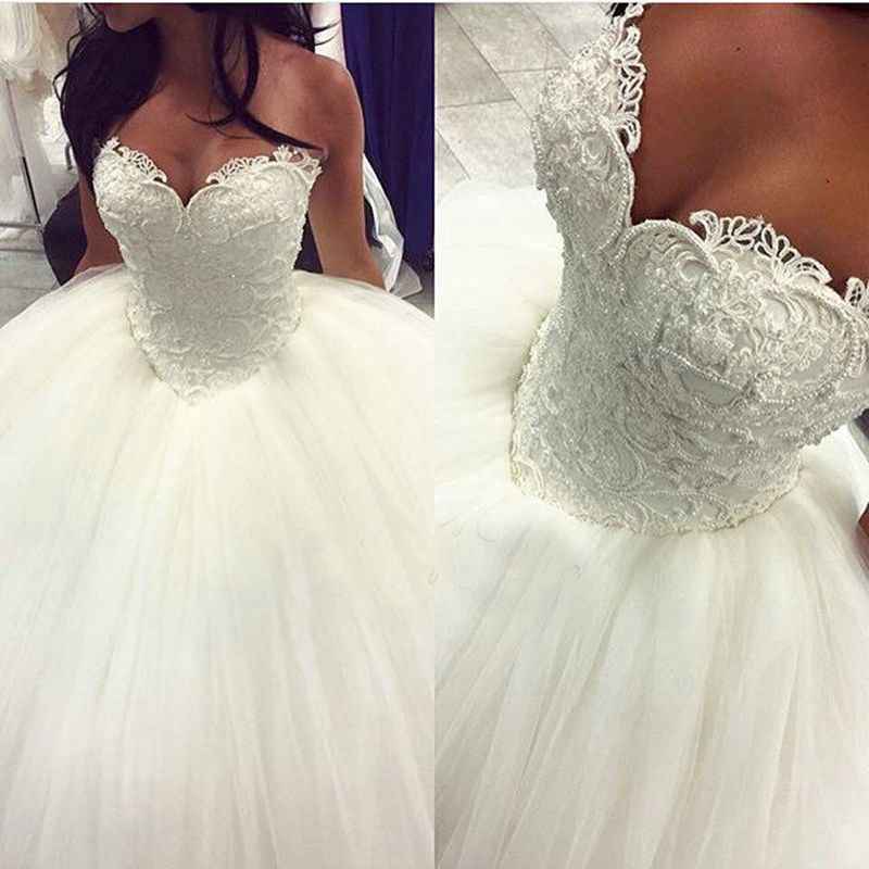 Glamorous 2016 White Wedding Dresses with Pearls Beaded Sweetheart Lace Tulle Ball Gowns Bridal Dress Backless Custom Made