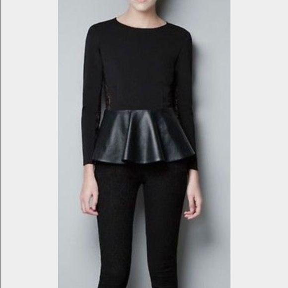 Zara Black Leather Lace Peplum Top Xs Extra Small Zara Black Long