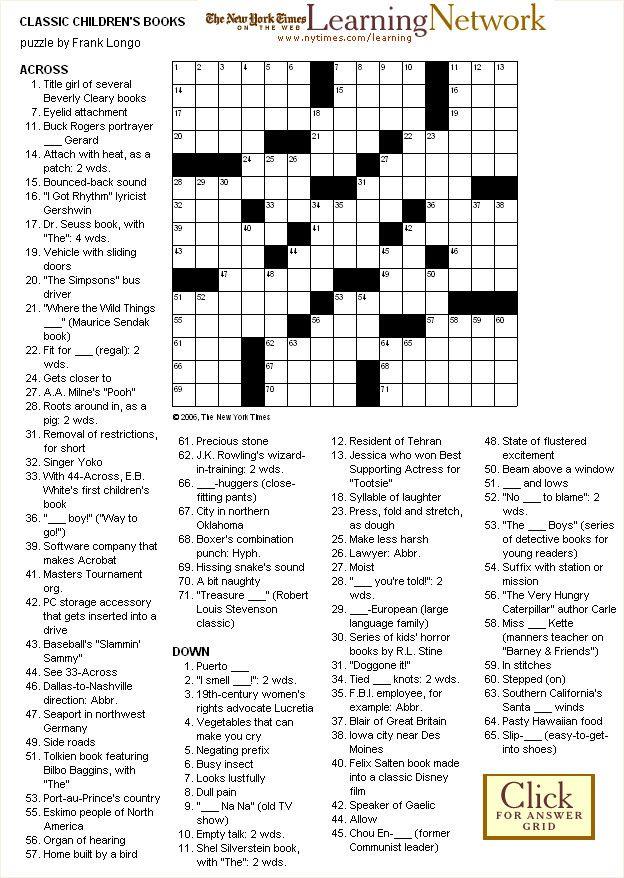 Crossword puzzle classic childrens books crossword puzzles crossword puzzle classic childrens books malvernweather Choice Image