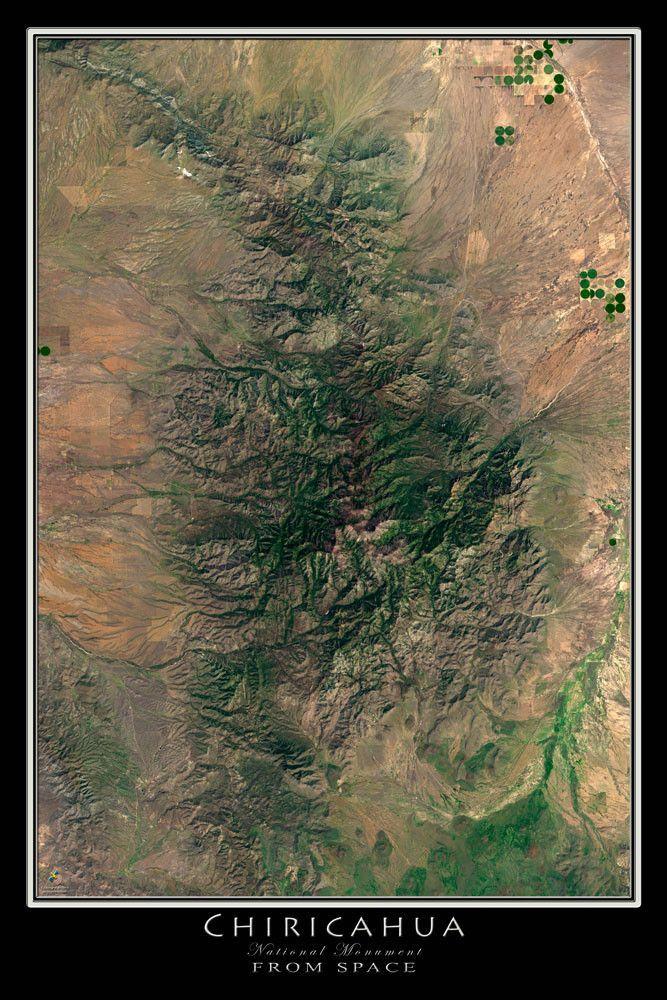 Satellite Map Of Arizona.Chiricahua National Monument Arizona Satellite Poster Map Arizona