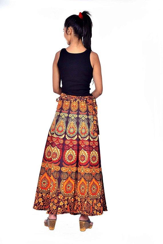 51337a4e06 Indian Mandala Cotton Wrap Skirt Free Size Handmade Summer Skirt Bohemian  Tapestry Skirt Ladies Clot