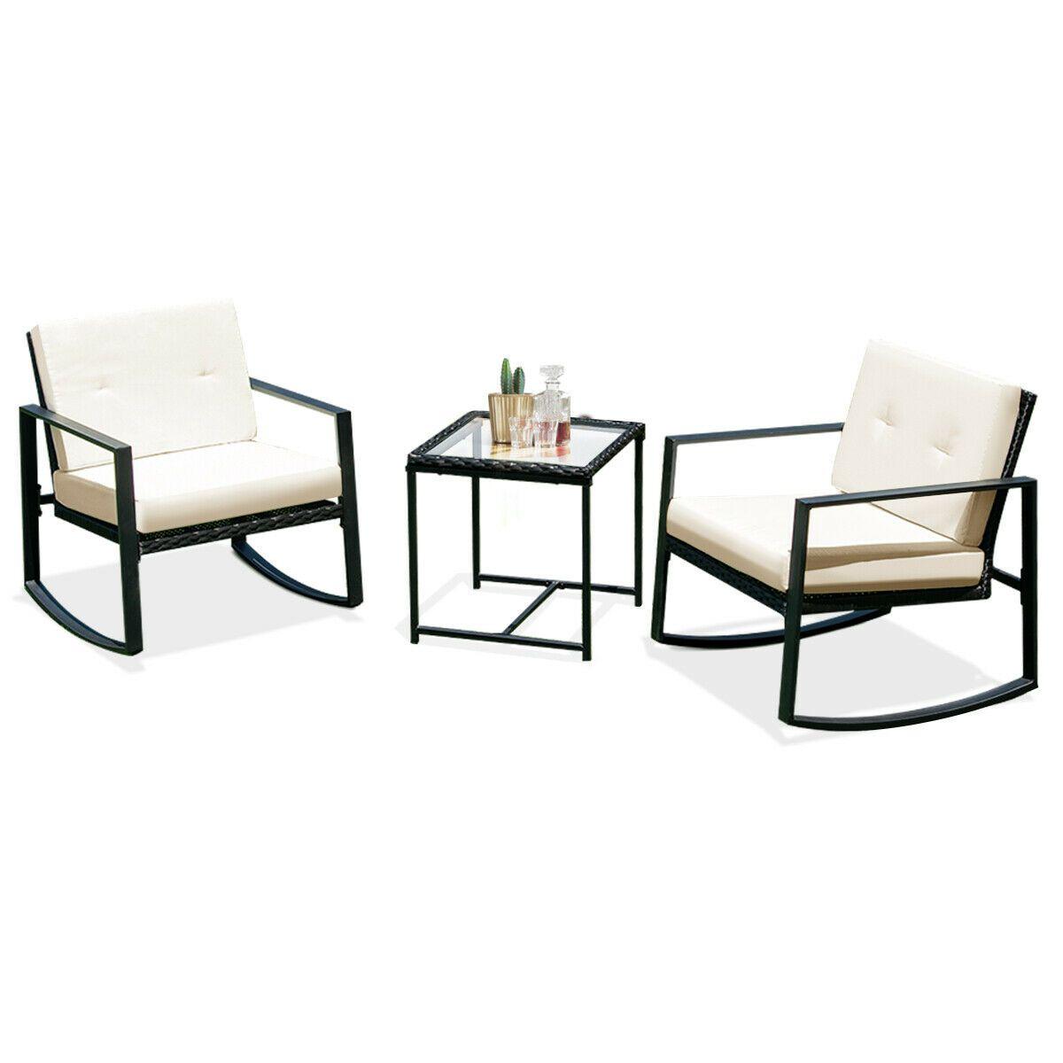 Details About 3Pcs Rattan Wicker Rocking Chair Bistro 400 x 300