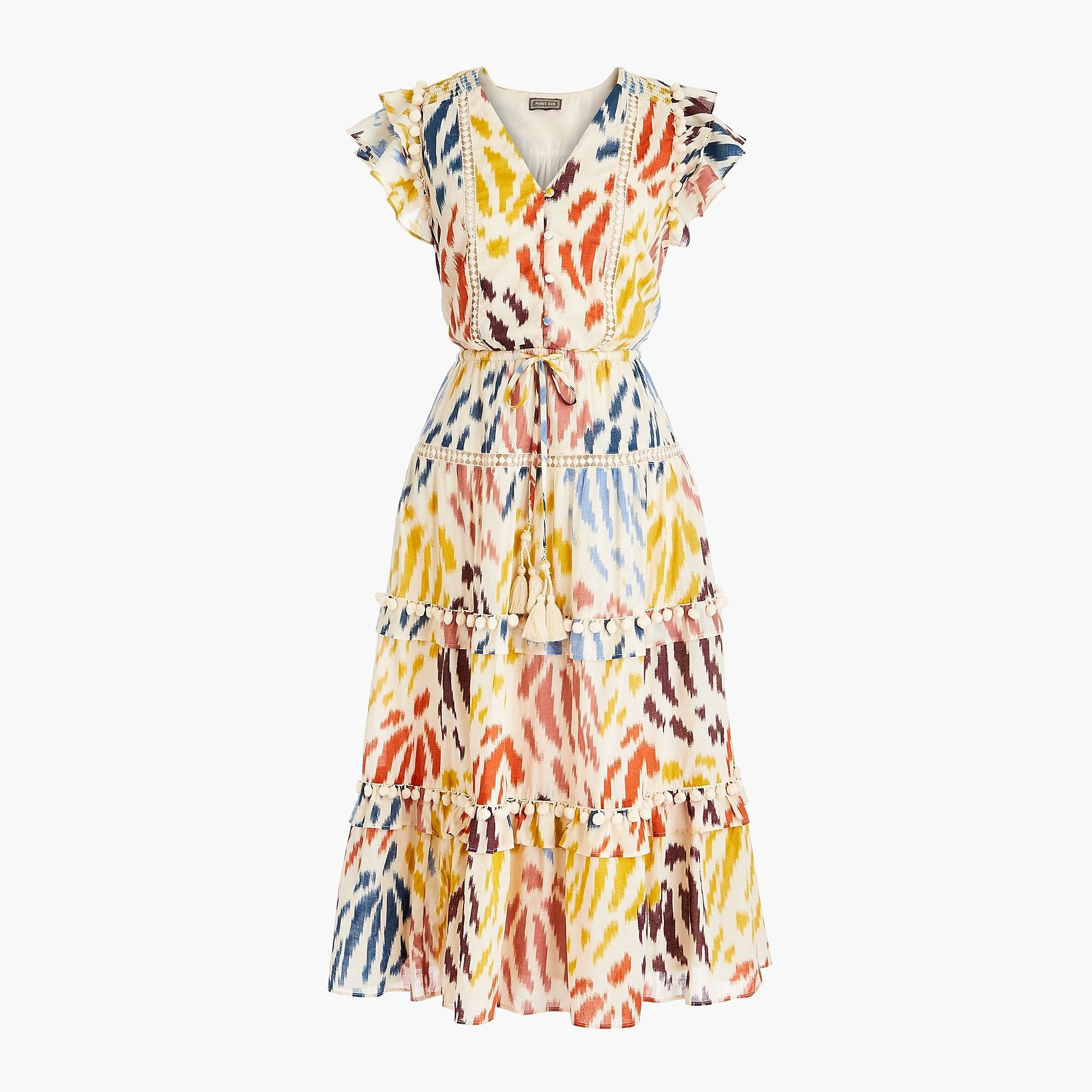f72ea38719 Shop the Point Sur flutter-sleeve midi dress in printed cotton voile at J. Crew and see the entire selection of Women s Dresses.