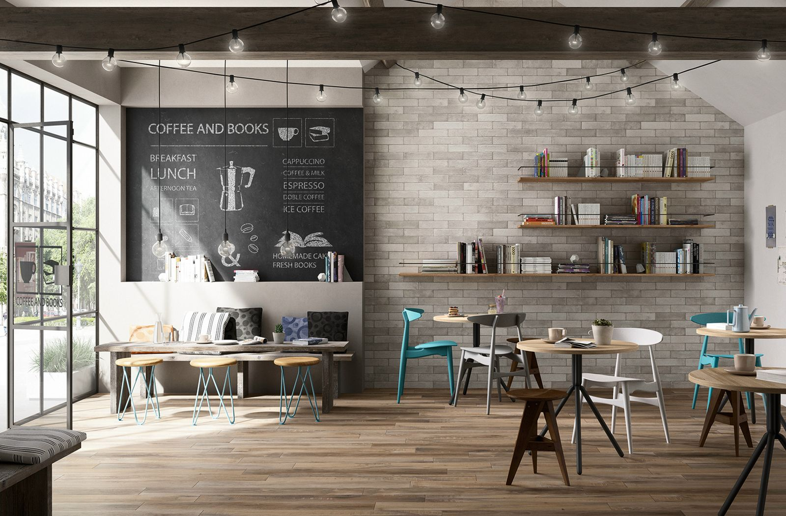 beautiful cafe space with brick effect feature wall from marazzi