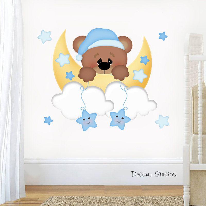 Teddy Bear Decal Baby Boy Nursery Wall Art Sticker Moon Cloud Star