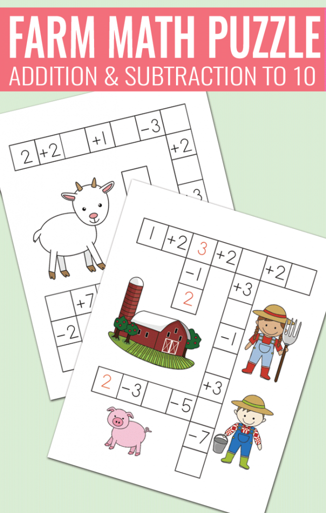 Farm Math Puzzles - Addition and Subtraction to 10 worksheets for ...
