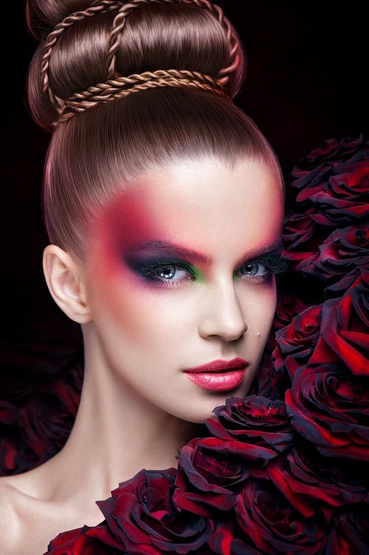 Maquillage halloween 99 inspirations pour le visage makeup red makeup and creative makeup - Maquillage halloween moitie visage ...