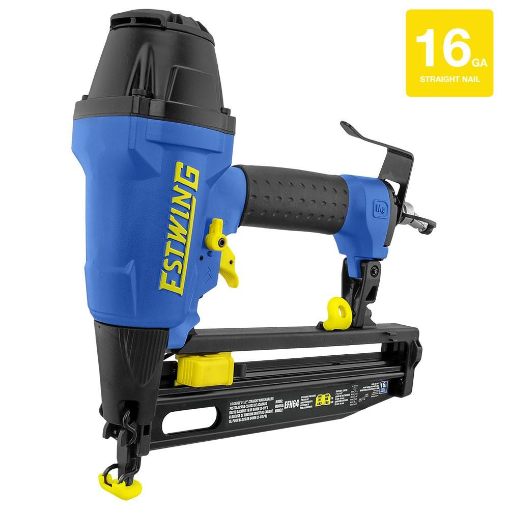 Estwing Pneumatic 2 1 2 In 16 Gauge Straight Finish Nailer With Canvas Bag Efn64 Finish Nailer Base Moulding Installing Hardwood Floors