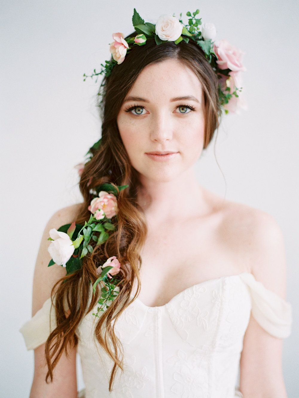 romantic ethereal bridal hairstyle with flower garland by love