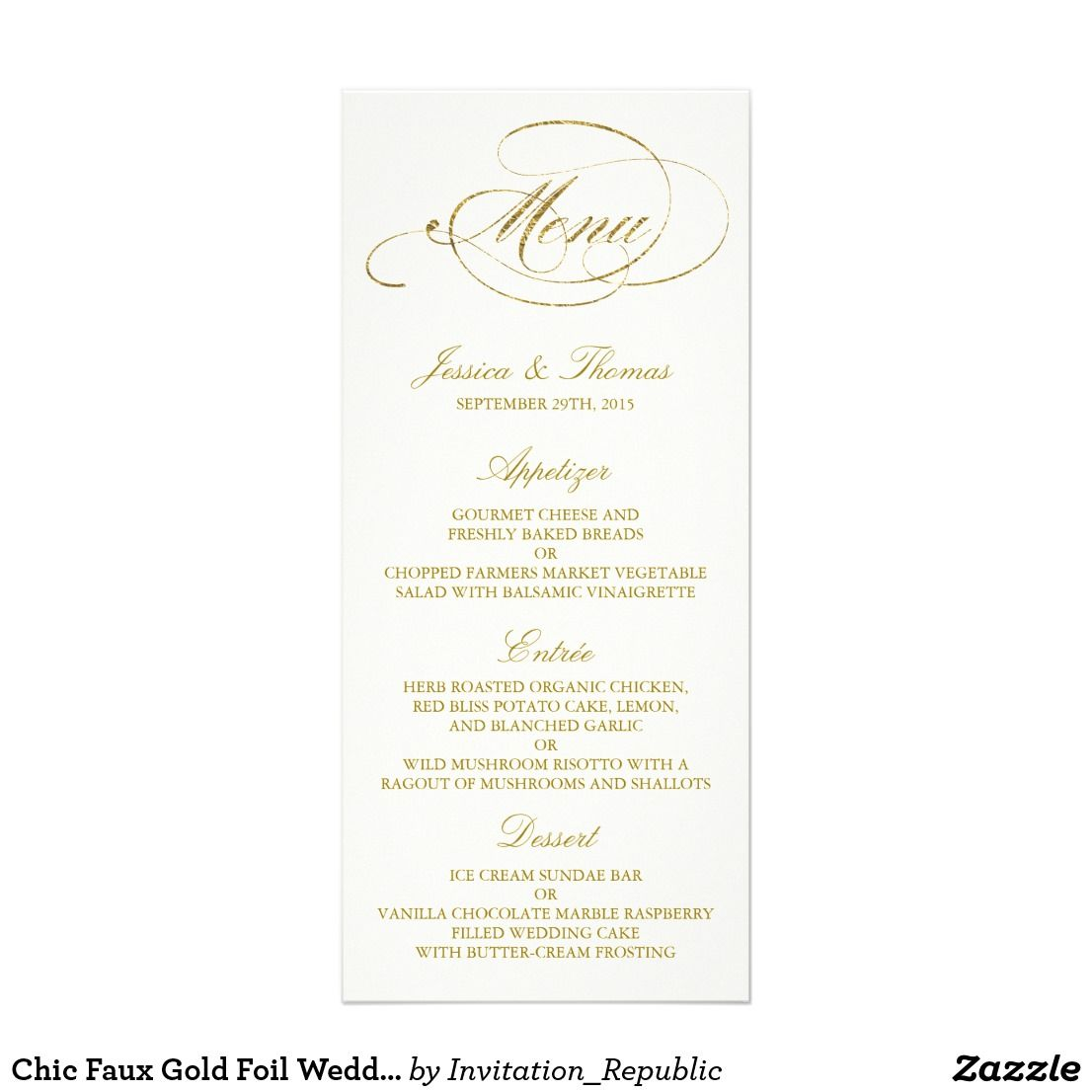 Chic Faux Gold Foil Wedding Menu Template  Ivory  MomS Wedding