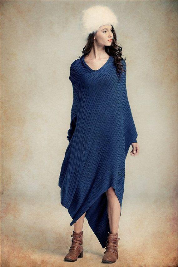 d6af015fa87 à la vente - robe en laine bleu   Maxi Tunique robe   caftan bleu    Extravagant robe longue   Party Dress   Plus Size. Robe oversize