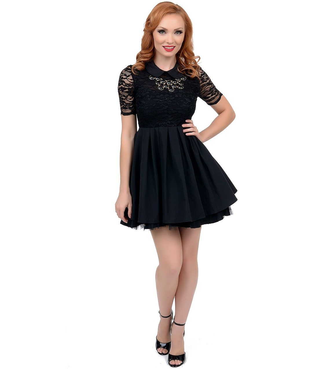 Pretty black short flared dresses