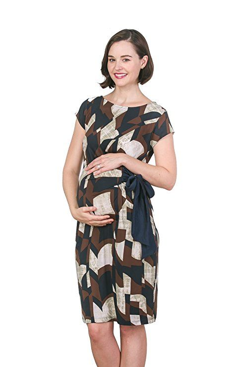 3006c4d4ff1ea LaClef Women's Adjustable Side Tie Knee Length Printed Short Sleeve  Maternity Dress|maternity clothes|maternity dresses|maternity …