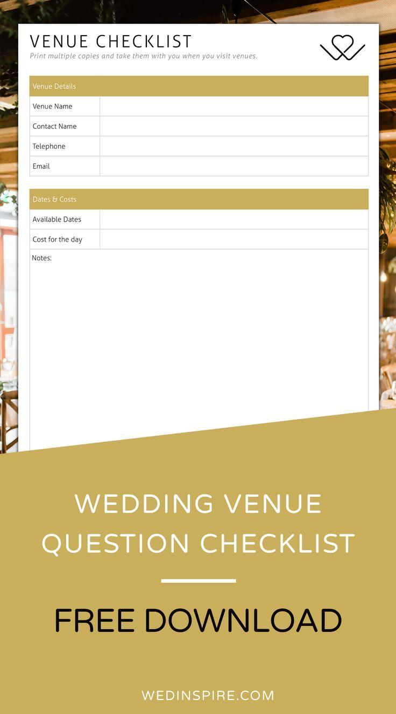 Wedding Venue Checklist | Wedding venues checklist ...