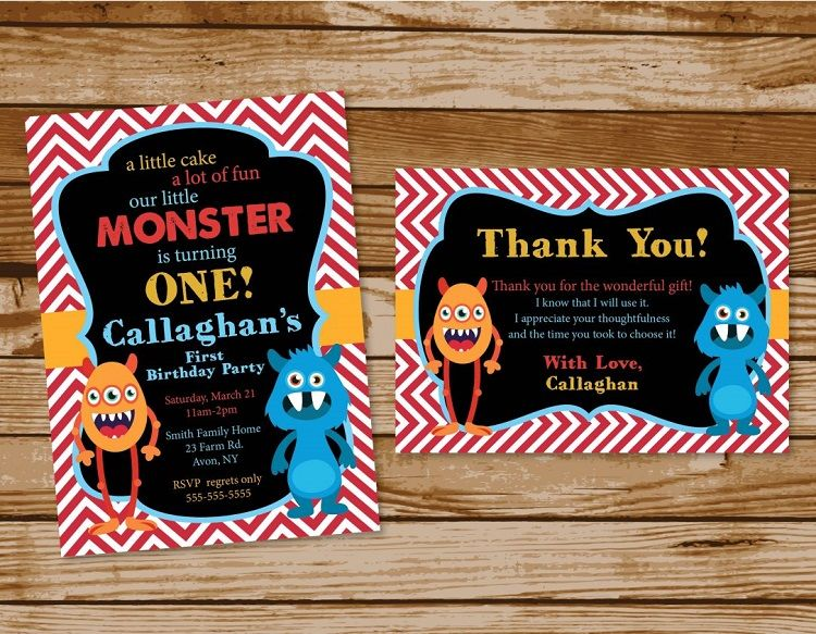 Custom Birthday Invitations Staples Monster Parties First Boy