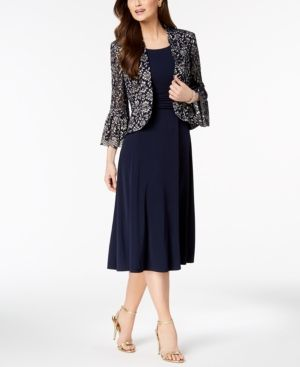 80b6249c931 Jessica Howard Ruched Dress   Lace Bell-Sleeve Jacket in Petite   Regular  Sizes - Blue 10P