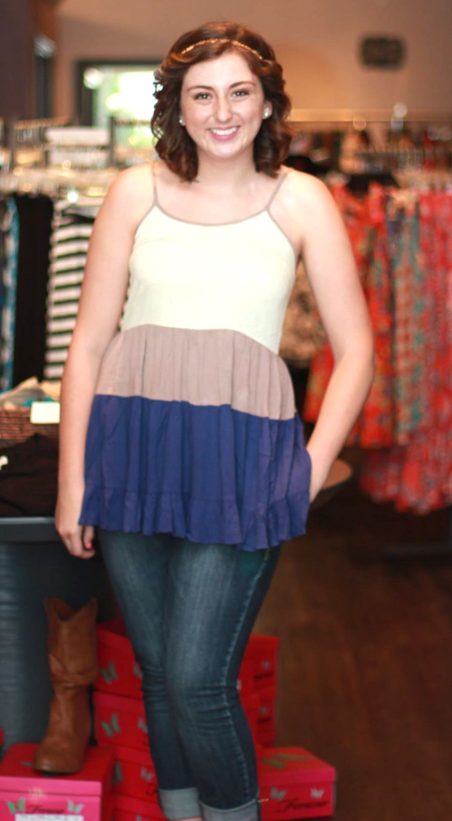 """""""Footprints in the Sand"""" top - $37 To order, call the boutique at 317-889-1150 or email jen@jendaisy.com"""