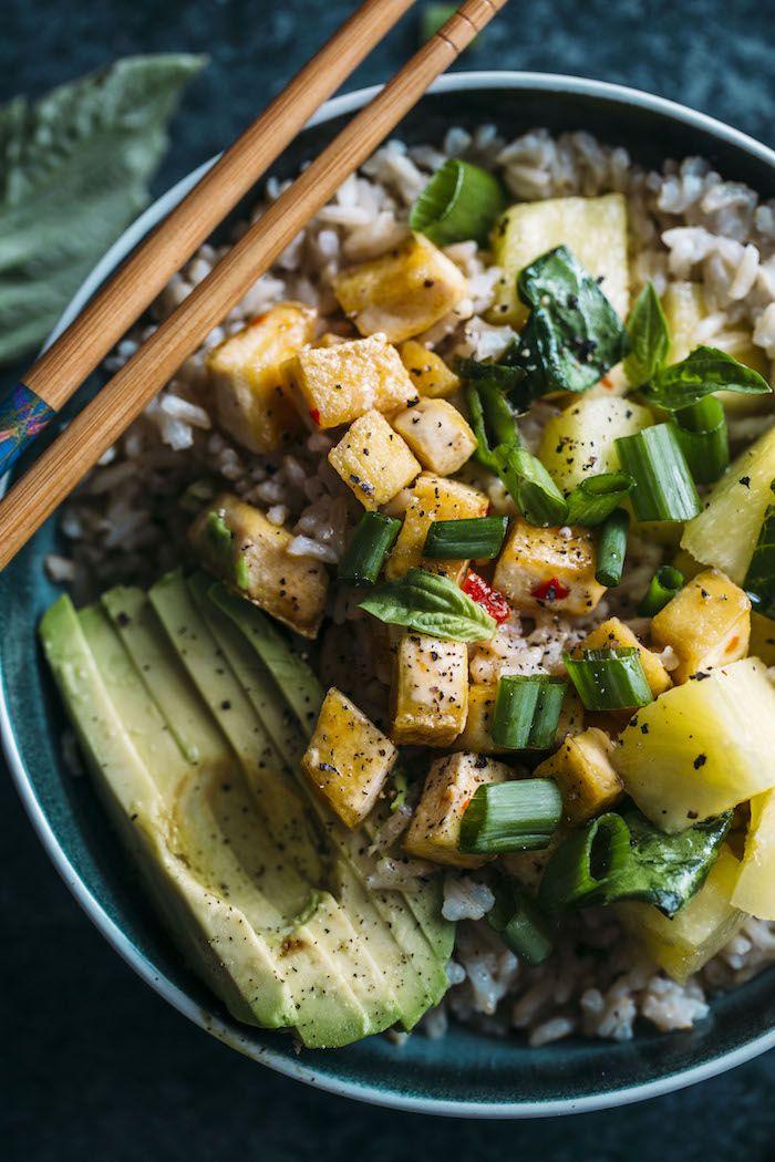 Pineapple Tofu Coconut Rice Bowl Vegan Whole Food Recipes Coconut Rice Tofu Recipes