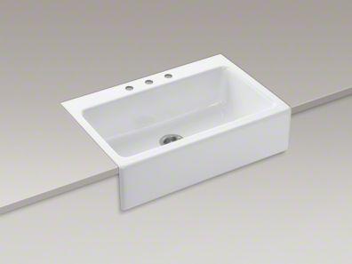 Kohler dickinson 33 x 22 1 8 x 8 3 4 apron front tile in single bowl kitchen sink with 3 - Kohler dickinson apron front sink ...
