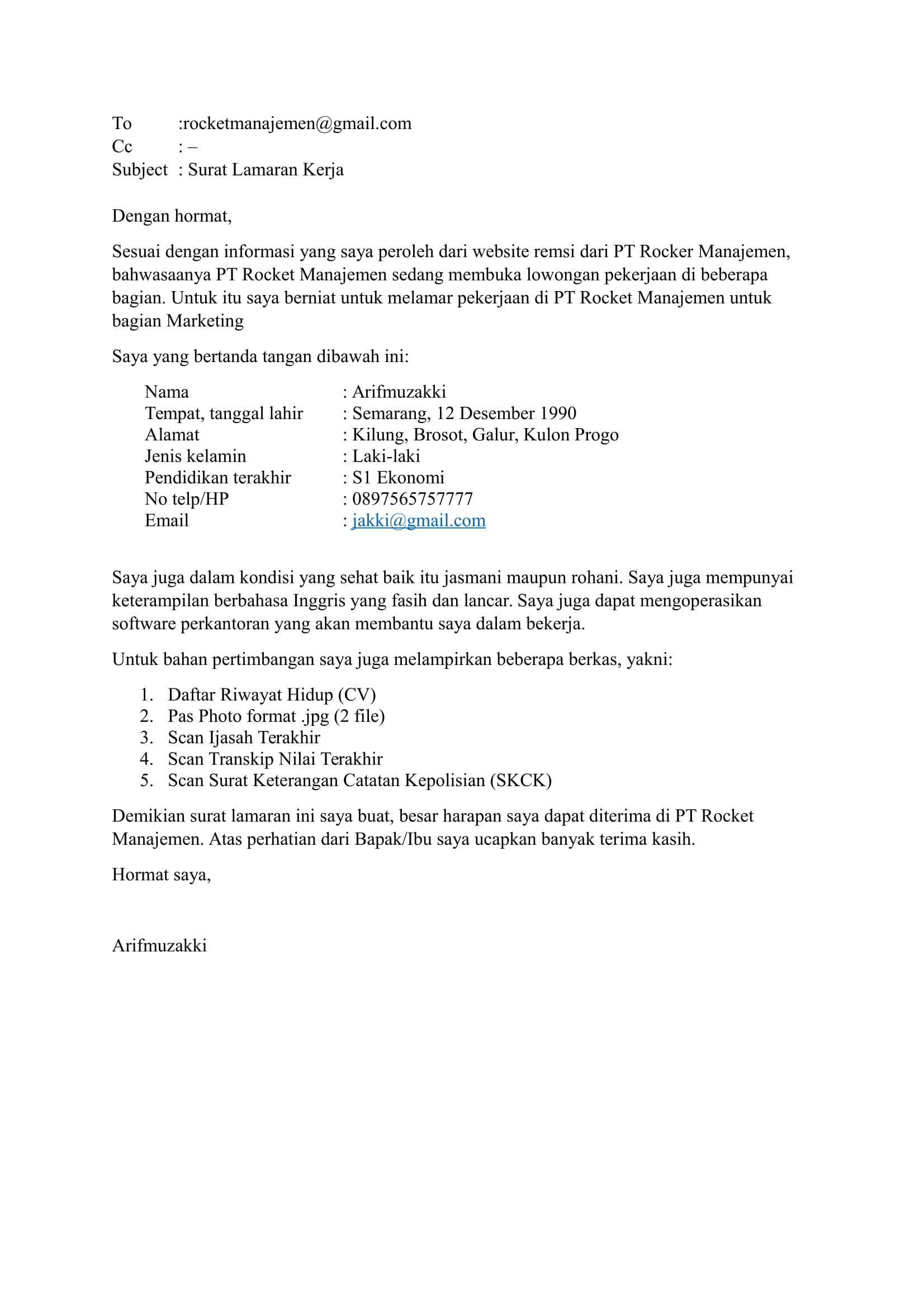 Download Contoh Surat Lamaran Kerja Via Email Riwayat
