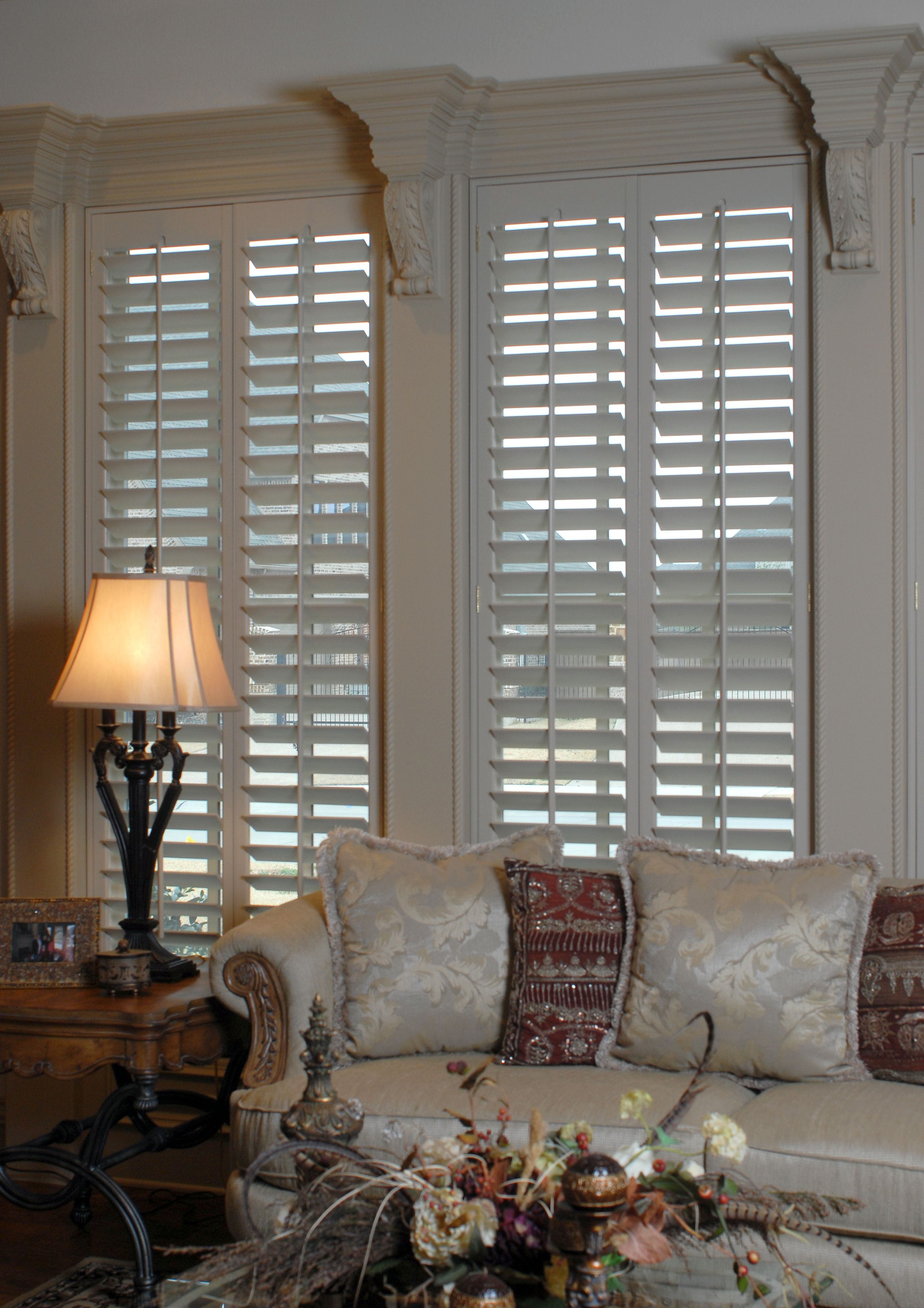Living room plantation shutters by the louver shop - Discount interior plantation shutters ...