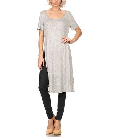 This Gray Side-Slit Top - Plus Too is perfect! #zulilyfinds