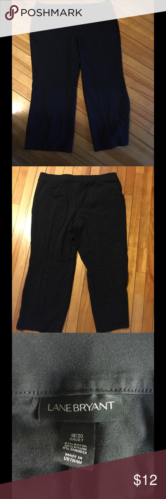 """Pull on black pants Perfect for those days when you need to be dressed up and you want to still be comfortable. These pants are pull on, no zippers. Pockets have never been opened. Seem down back of leg. They are short and run short. I am 5'5"""" and they were a good 2"""" too short. Excellent condition. 18/20 Lane Bryant Pants Trousers"""