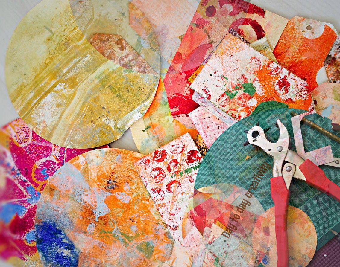 Geschenkanhänger, Briefumschläge aus Gelli plate   Papier