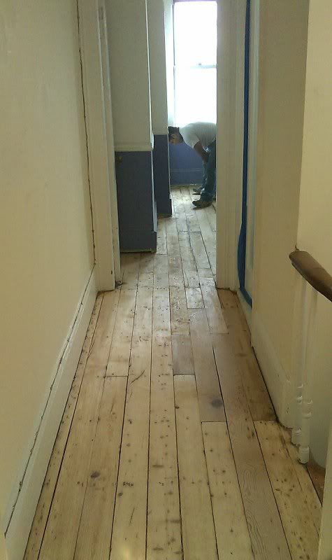 Construction And Remodeling Companies Decor Painting refinishing 100 yr old white pine floor (subfloor, paint, living