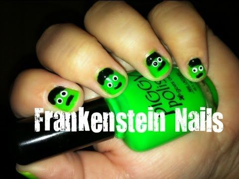 How To Paint Easy Simple Frankenstein Halloween Nail Art Totally