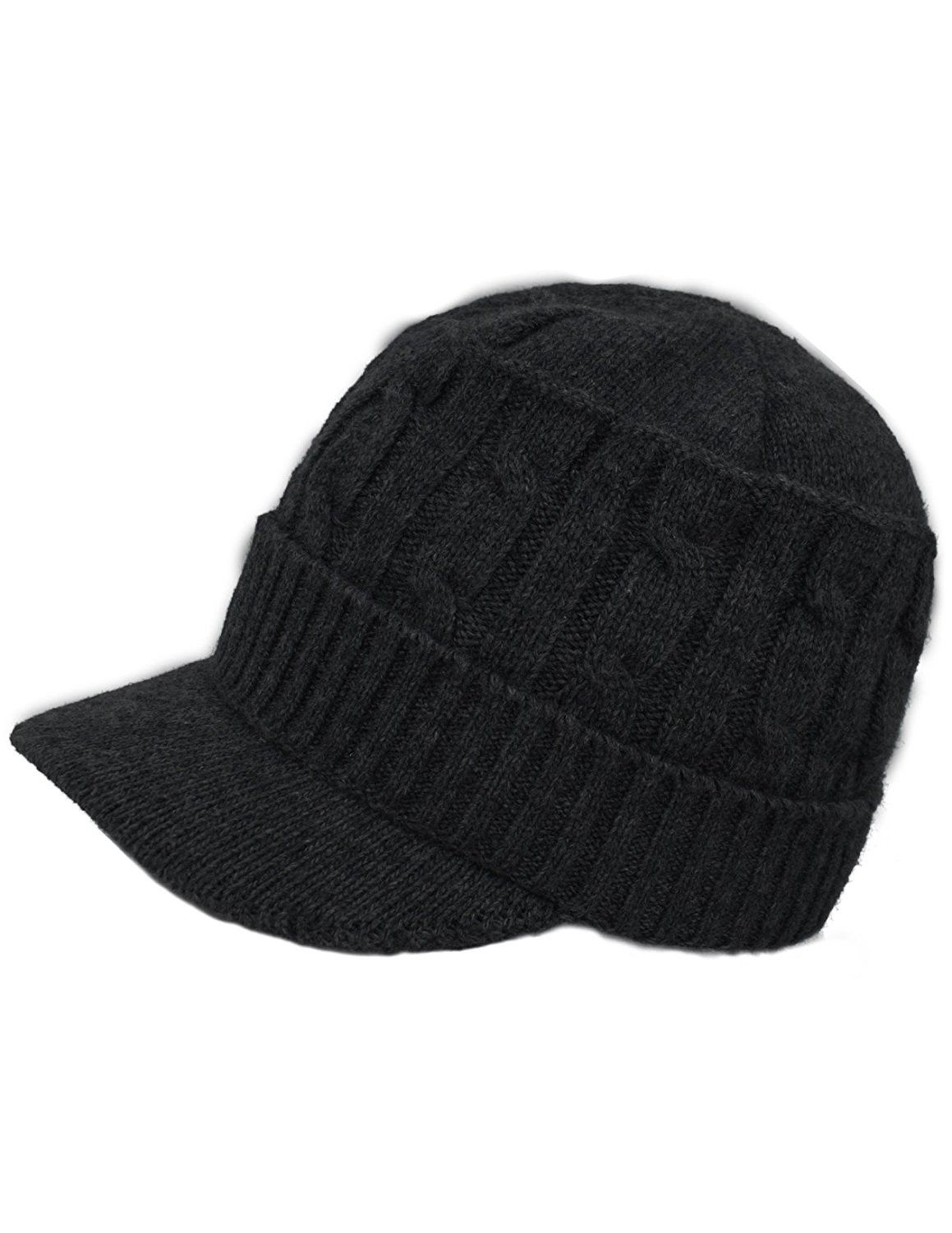 f4928f9e96d official store womens soft warm velour lined cable knit visor cap hat black  cm186ondntt bf083 9237a