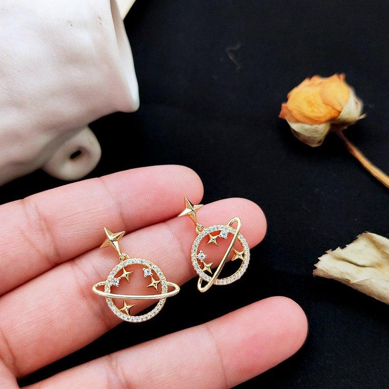 signature earrings Tiny Saturn Earrings space jewelry geometric earrings