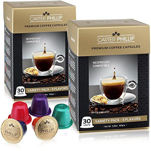 Nespresso Compatible Capsules 60 Count Premium Dark Roast Espresso Lungo And Decaf By Carter Phillip Capsule Coffee Machine Espresso Pods Coffee Packaging
